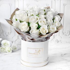 Heavenly 25 White Roses Hand Tied